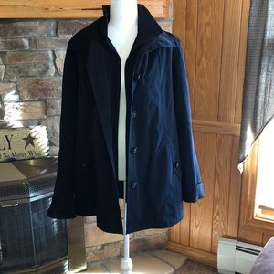 Lined and removable hood rain coat